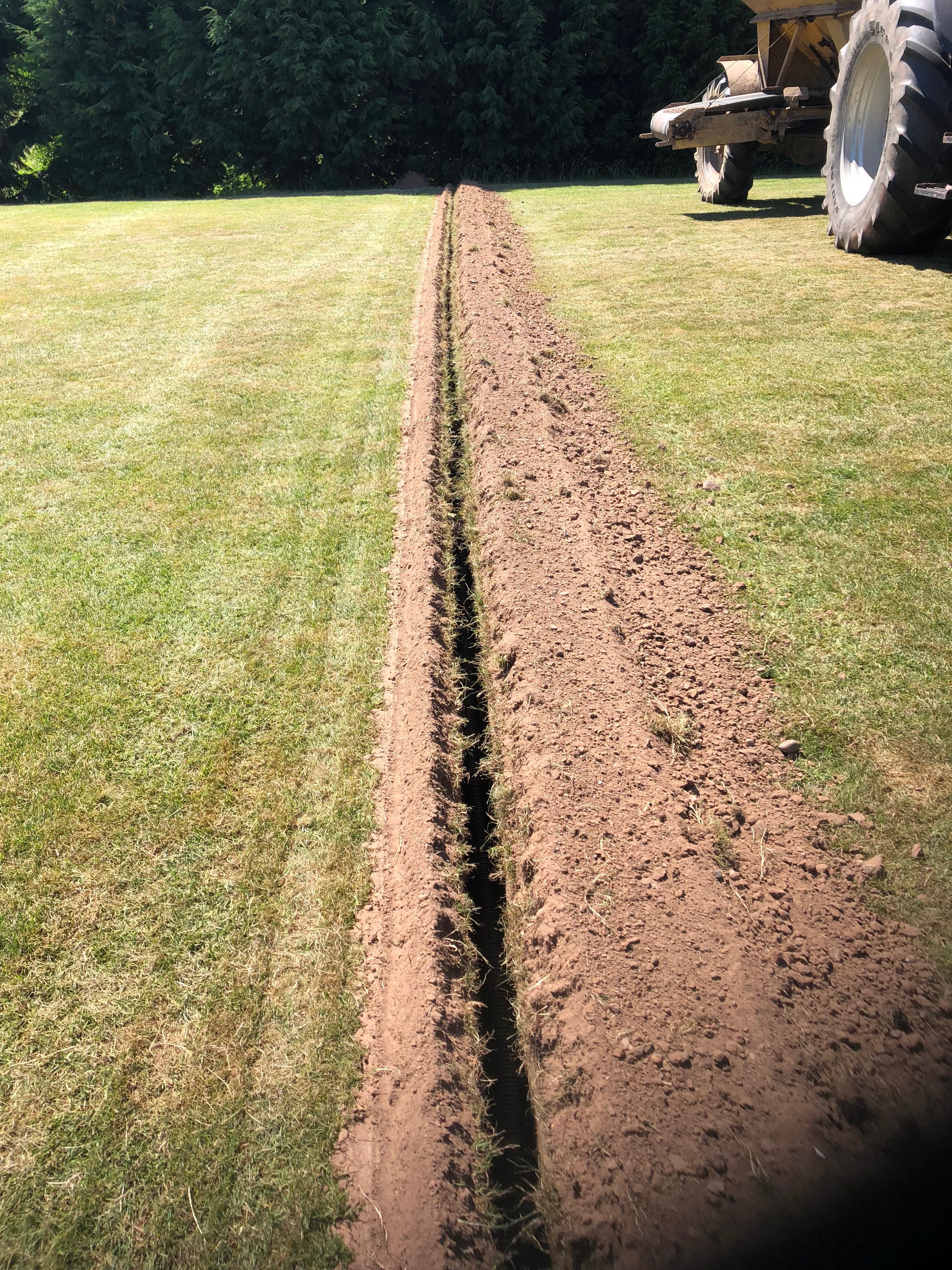 Narrow trench dug